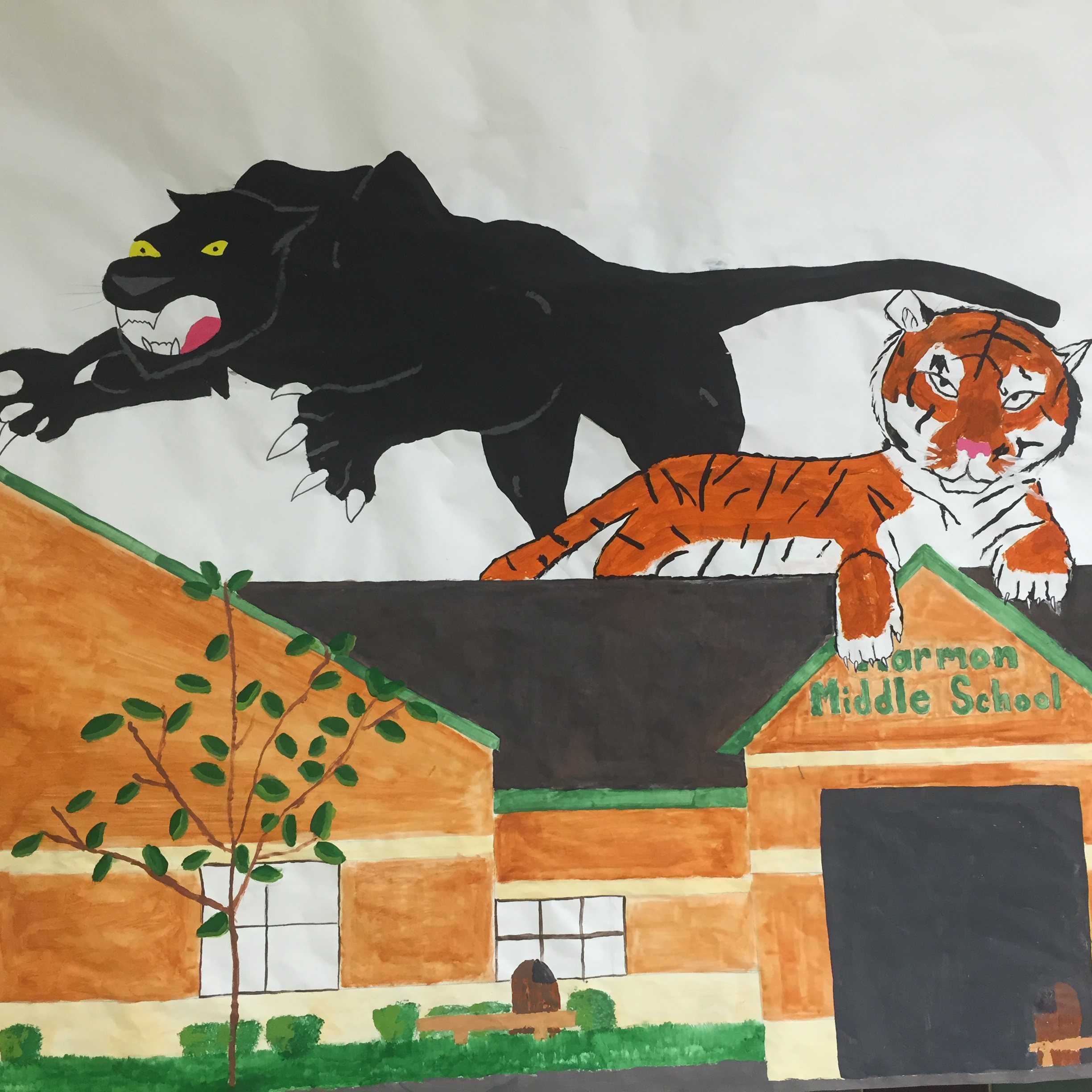 Image of tiger and panther mascot mural
