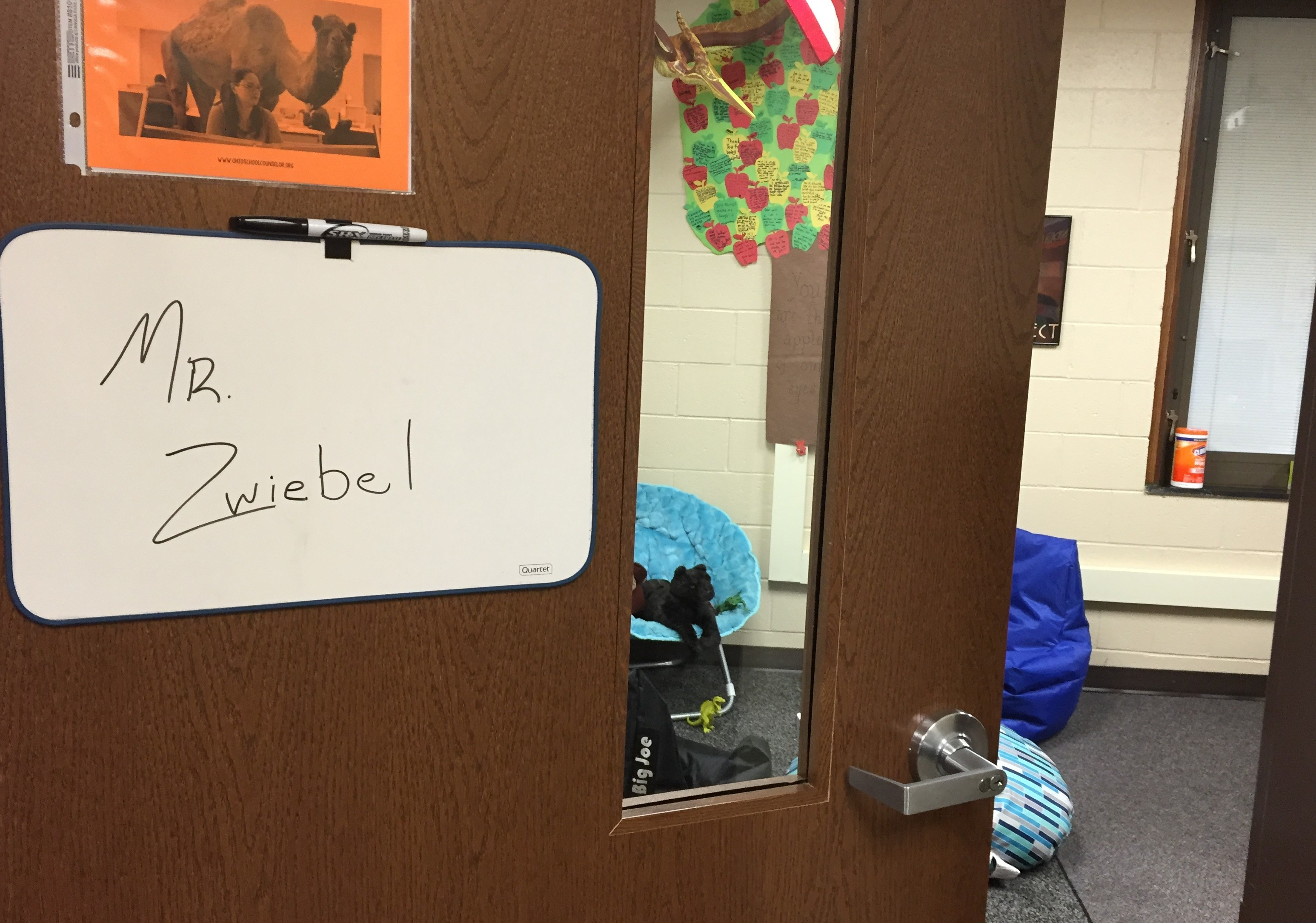picture of Mr. Zwiebel's door/counseling office