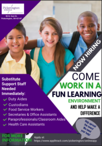 PLSD is hiring substitutes for support staff