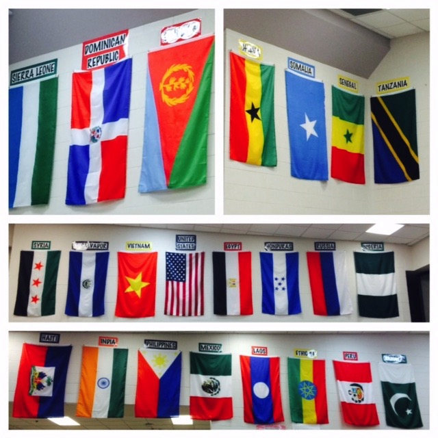 Image of international flags at Tussing