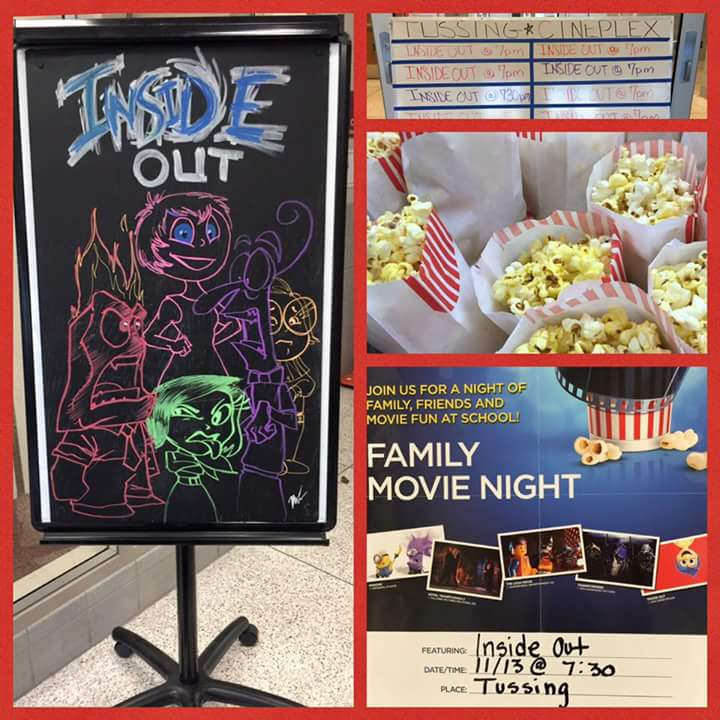 Photo collage of the family movie night event. Pictures include popcorn and a character drawing for the movie inside out.