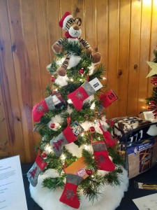 holiday tree decorated with stockings