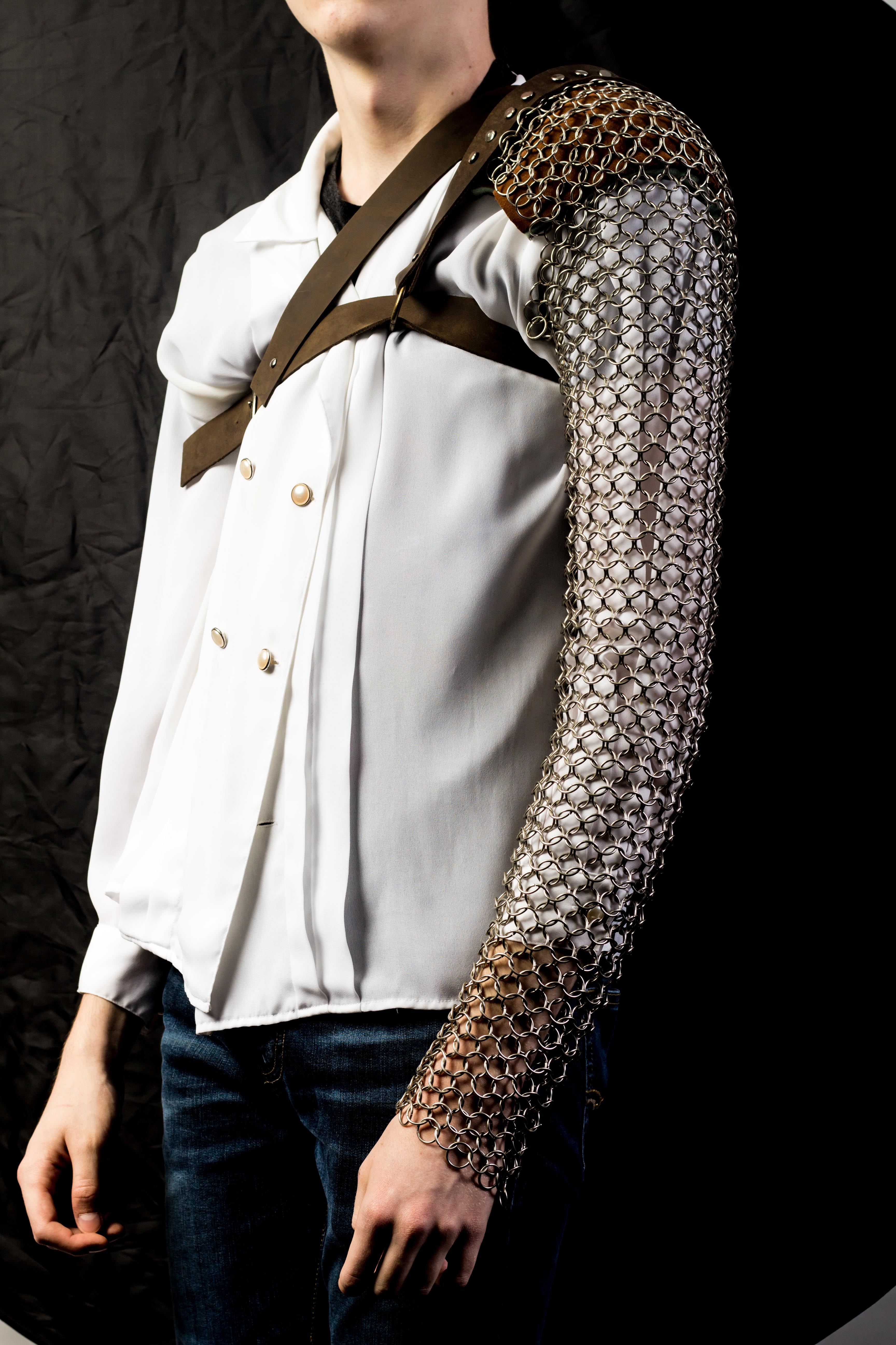 Image of student's chainmail and leather sleeve