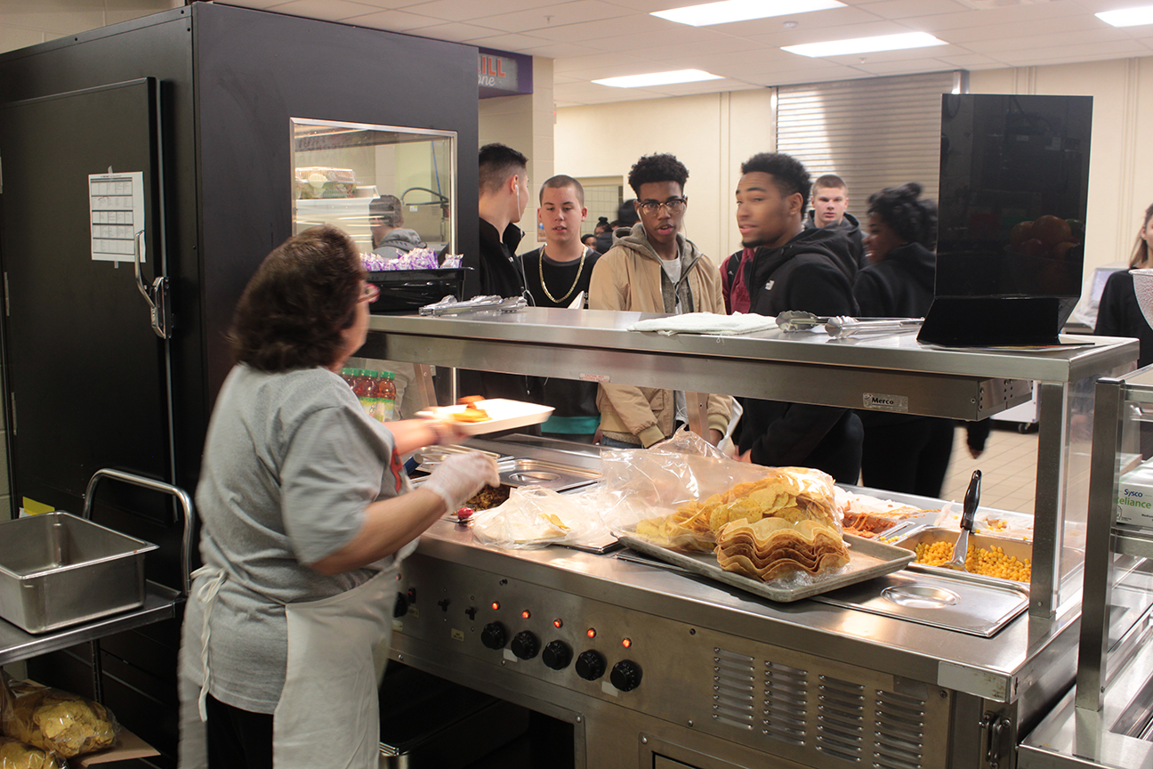 North kitchen with students getting lunch