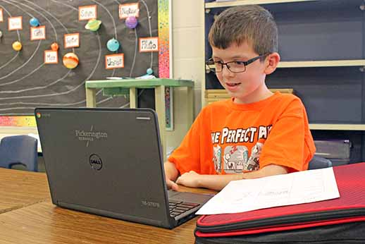 PIckerington student using his Chromebook