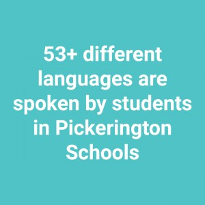 "Image with text that states, ""53+ different languages are spoken by students in Pickerington Schools."""