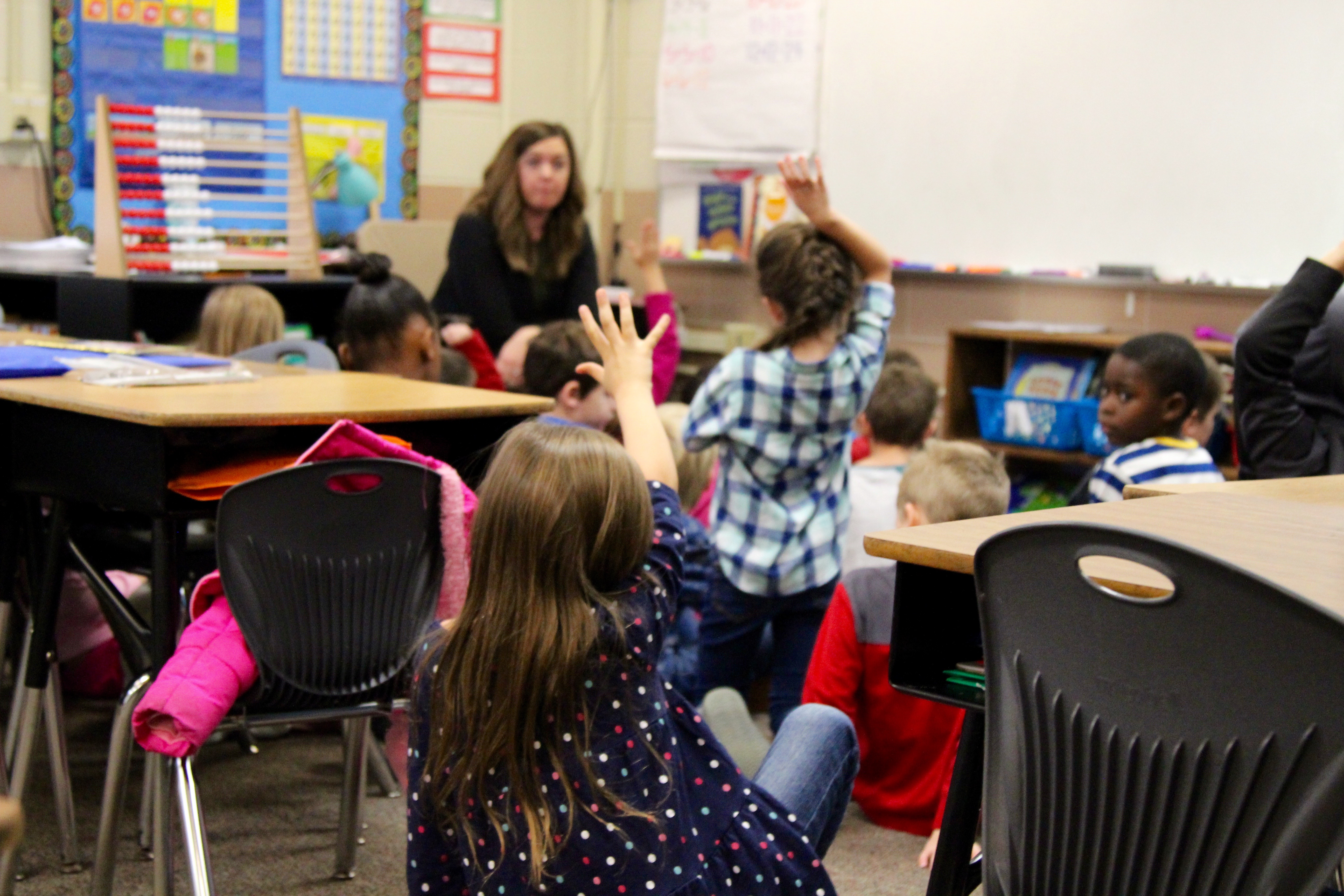 Amy Palmer's first-grade class asking questions about Puerto Rico