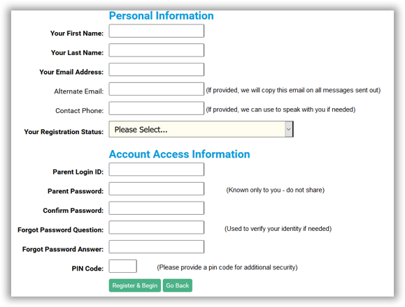 Initial form to create OneView account