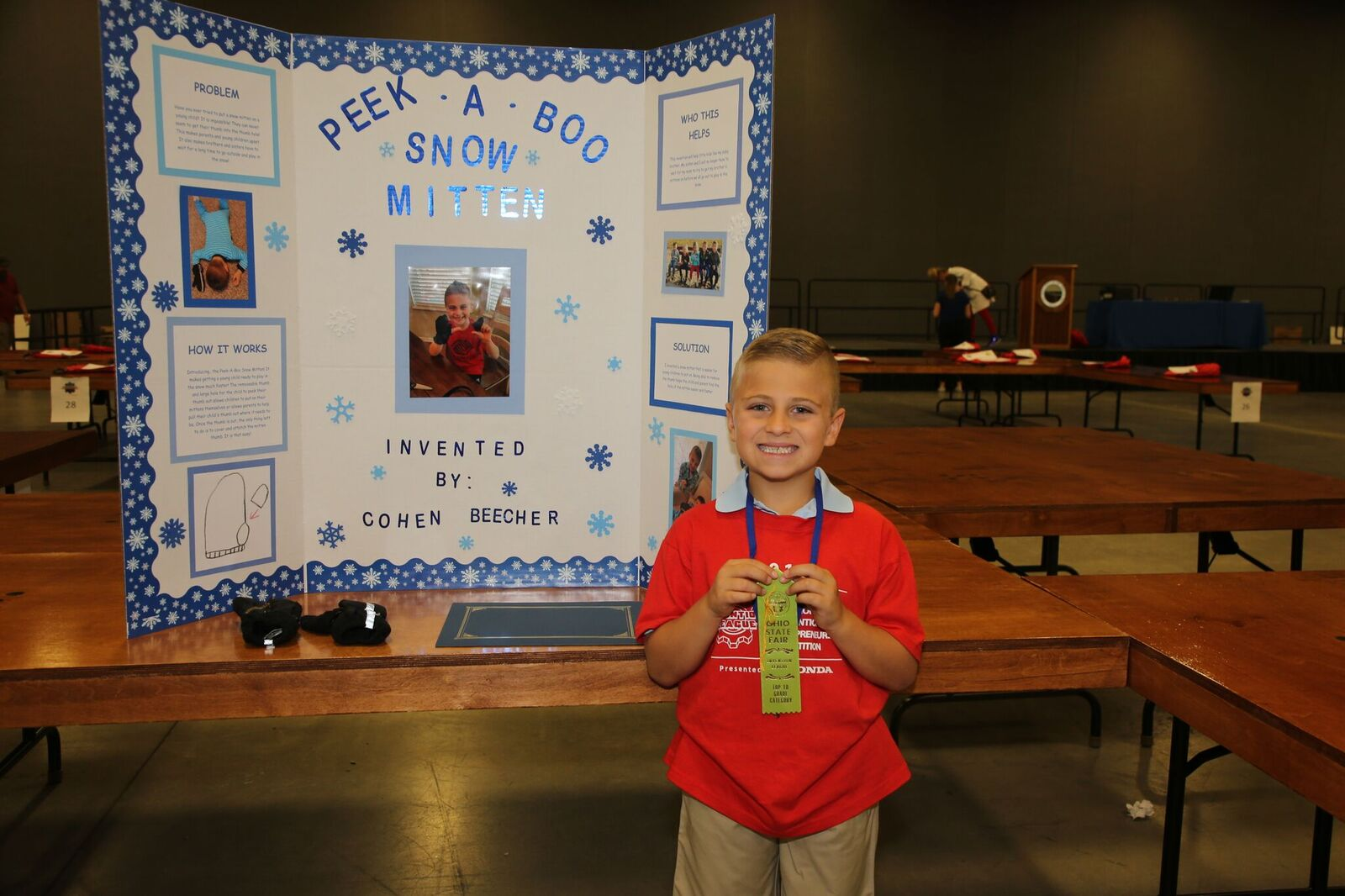 Cohen Beecher with his national qualifying invention the peek-a-boo snow mitten