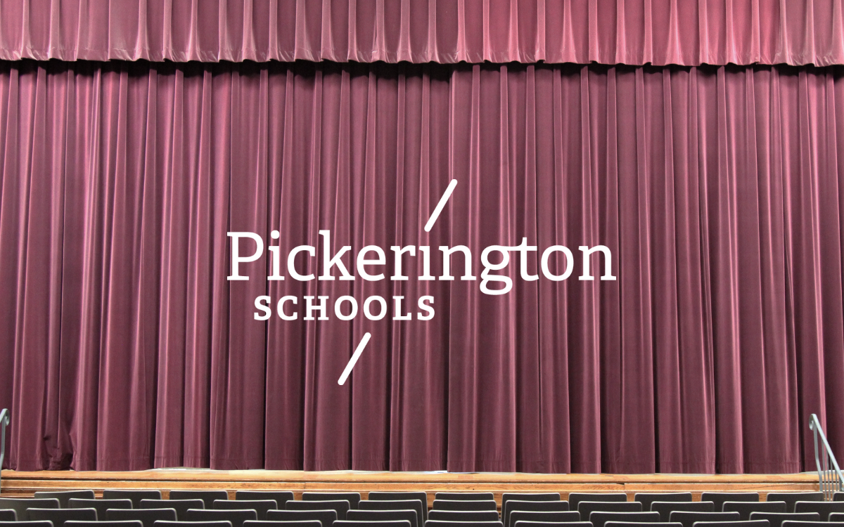 Show curtains with Pickerington Schools logo