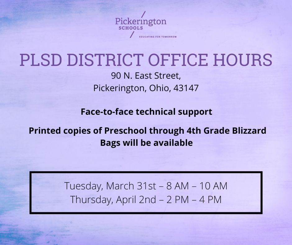 PLSD Office Hours During Closure graphic