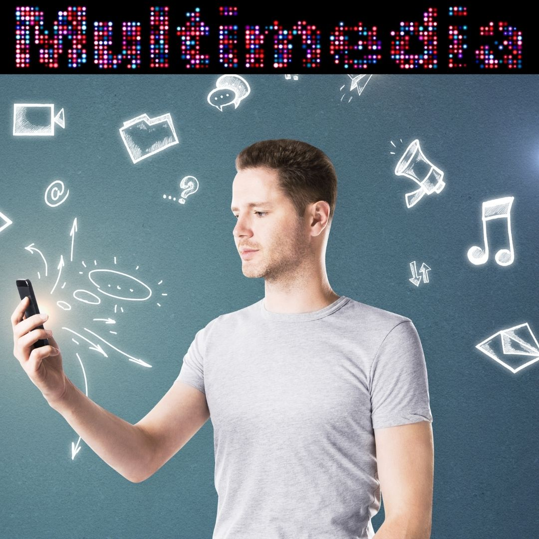 Picture depicts man holding phone with bubble thoughts of multimedia images
