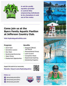 Flyer inviting families to join programs offered by Hydra Aquatics.