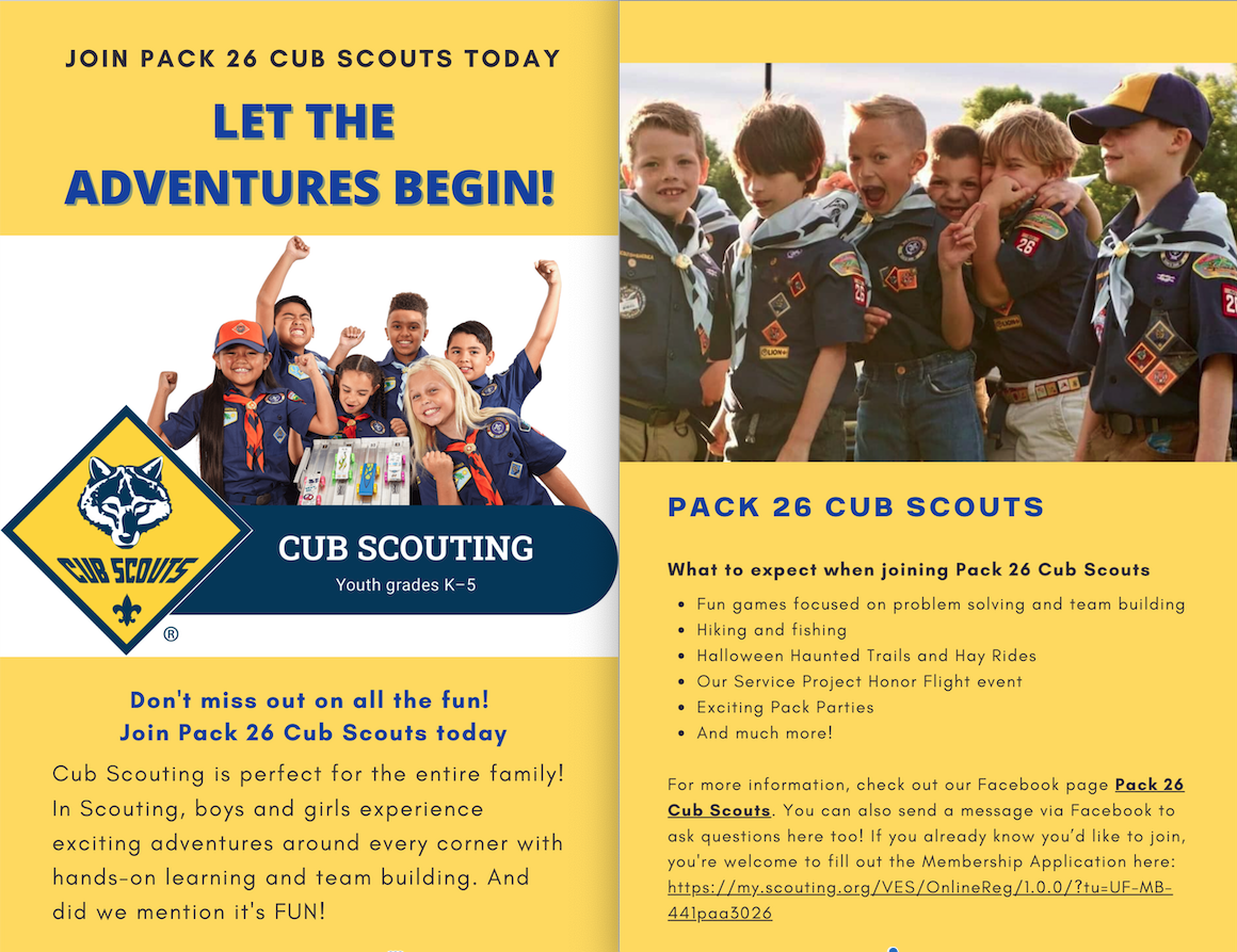 Flyer describing information for Cub Scouts Pack 26